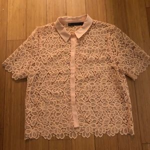 Pink lace button up shirt